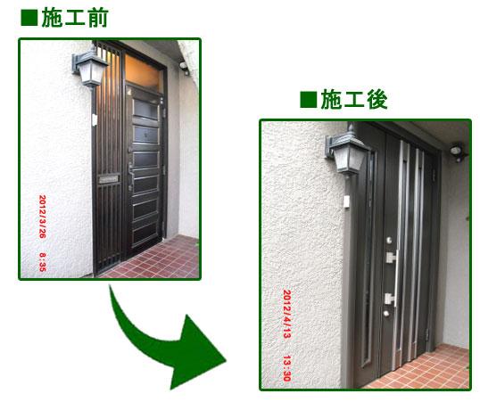 K様邸玄関ドア ビフォーアフター